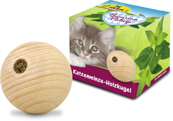 JR Cat Bavarian Catnip Katzenminze-Holzkugel